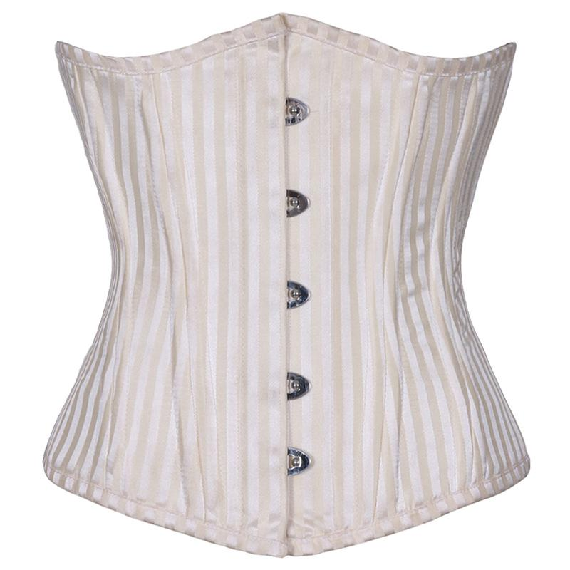 1950s Fashion History: Women's Clothing Brocade Curved Underbust Waist Trainer - White $84.00 AT vintagedancer.com