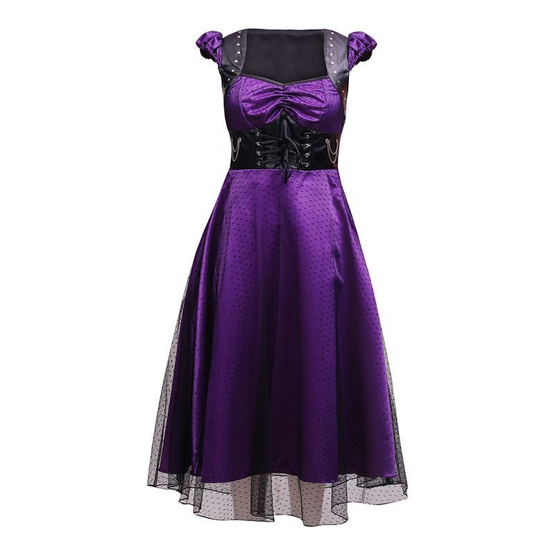 Small & Medium - Gothic Dots Dress - Purple