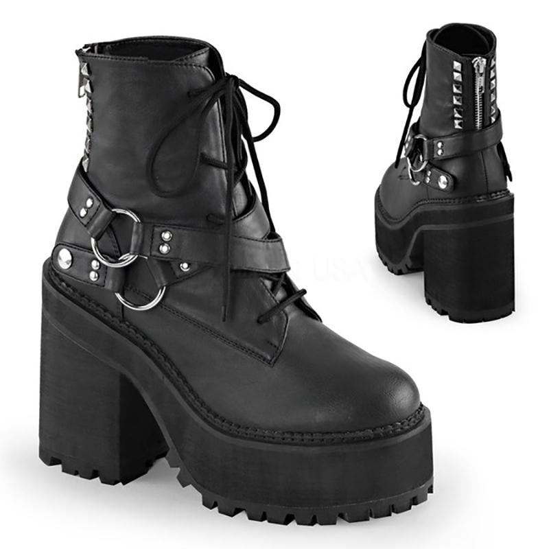 Kiss of Gloom Black Ankle Boots