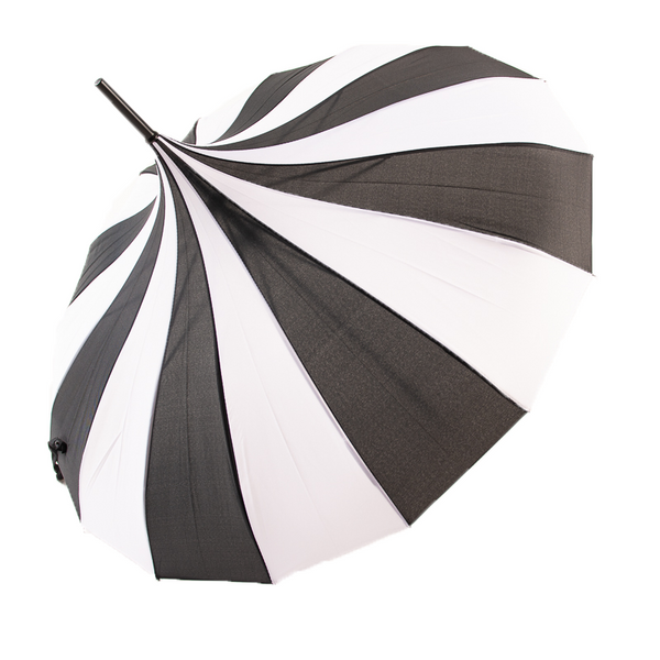 Morticia's Pagoda Umbrella - Black/White