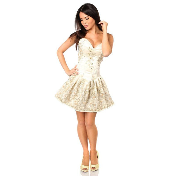 Lady Floral's Corset Dress - Ivory