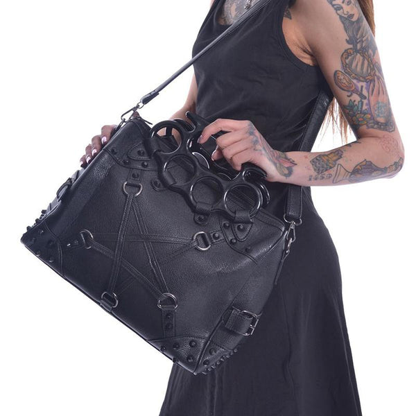 Tough Knuckle Buckled Purse - Black