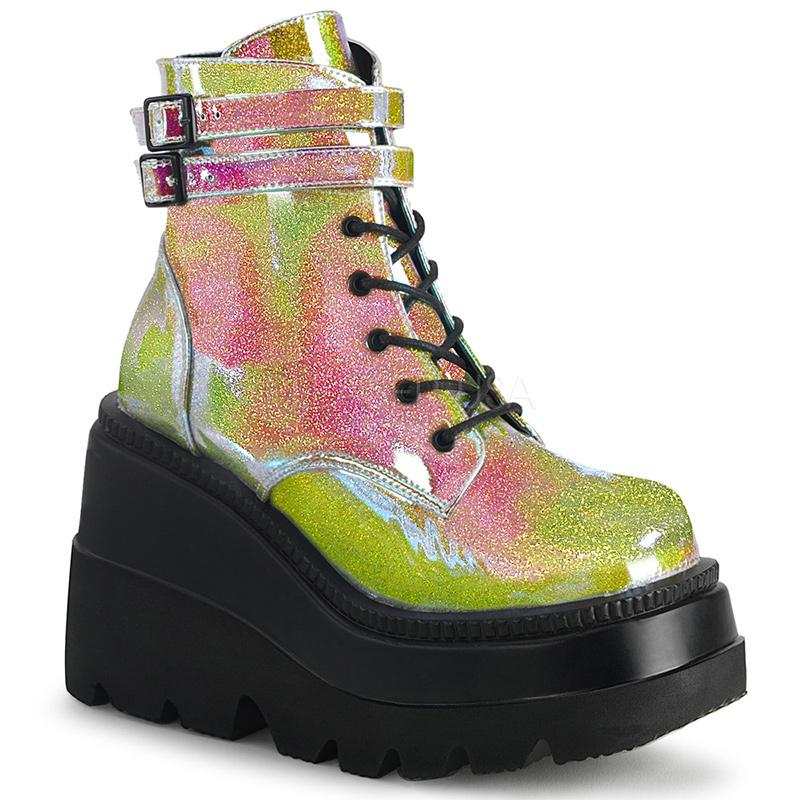 Double Buckle Stompers - Yellow Iridescent