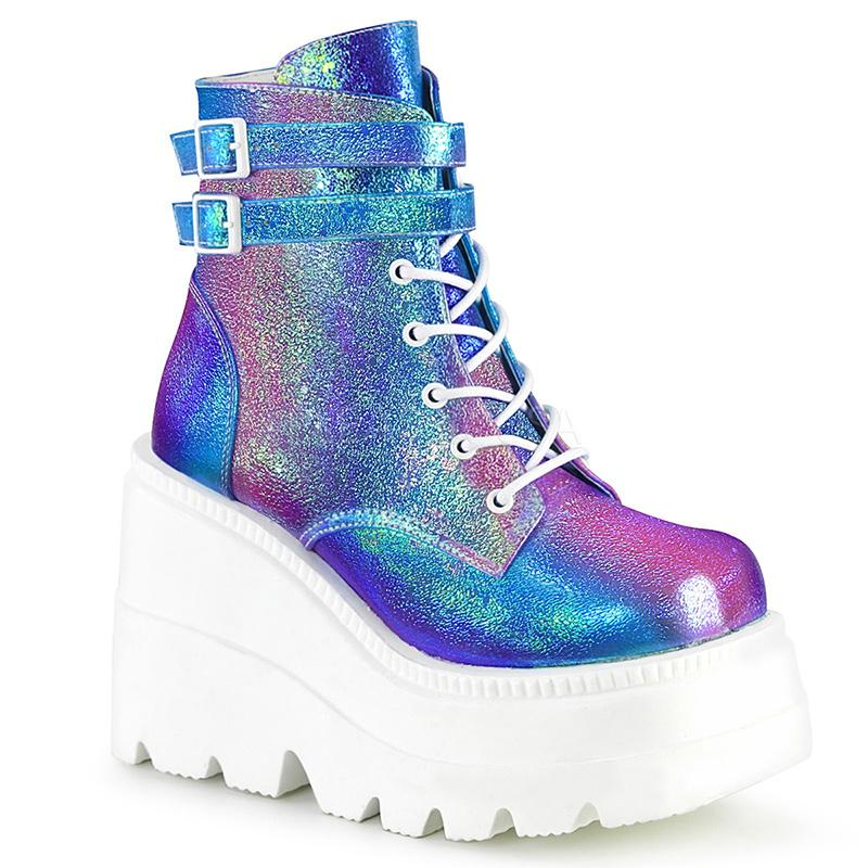 Double Buckle Stompers - Blue/Purple Iridescent