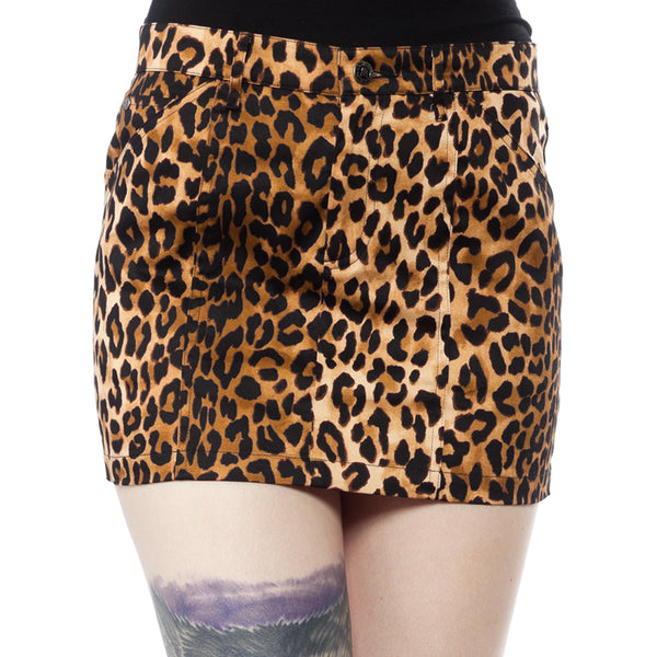 Leopard 5 Pocket Mini Skirt