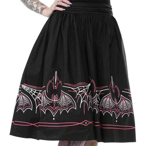 Batty Pinstripe Spooksville Skirt - Pink/Black