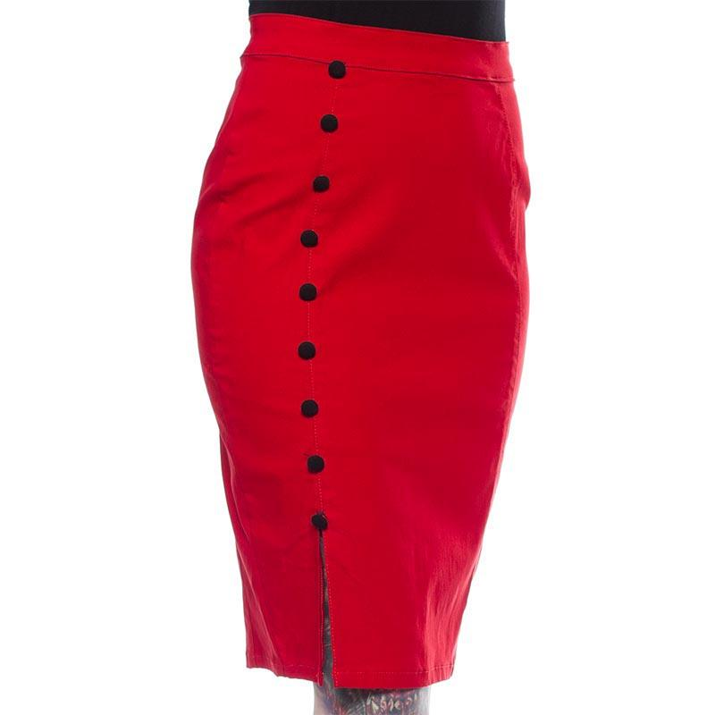 Fancy Pencil Skirt - Red