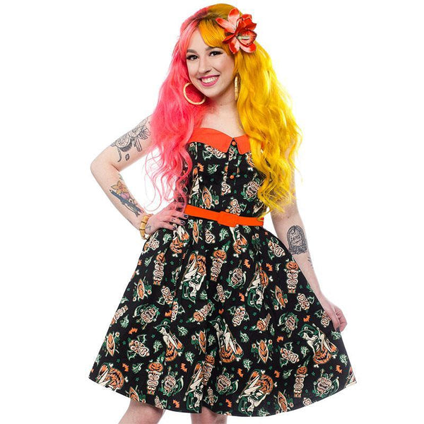 Size XS and Small - Hallow-Tiki Spooksville Dress