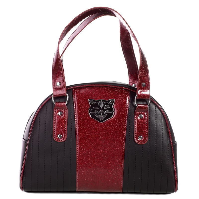Tuck and Roll Bowler Purse - Black/Red