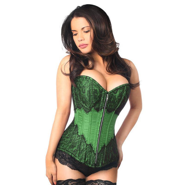 Eyelash Lace Overbust Corset - Emerald Green