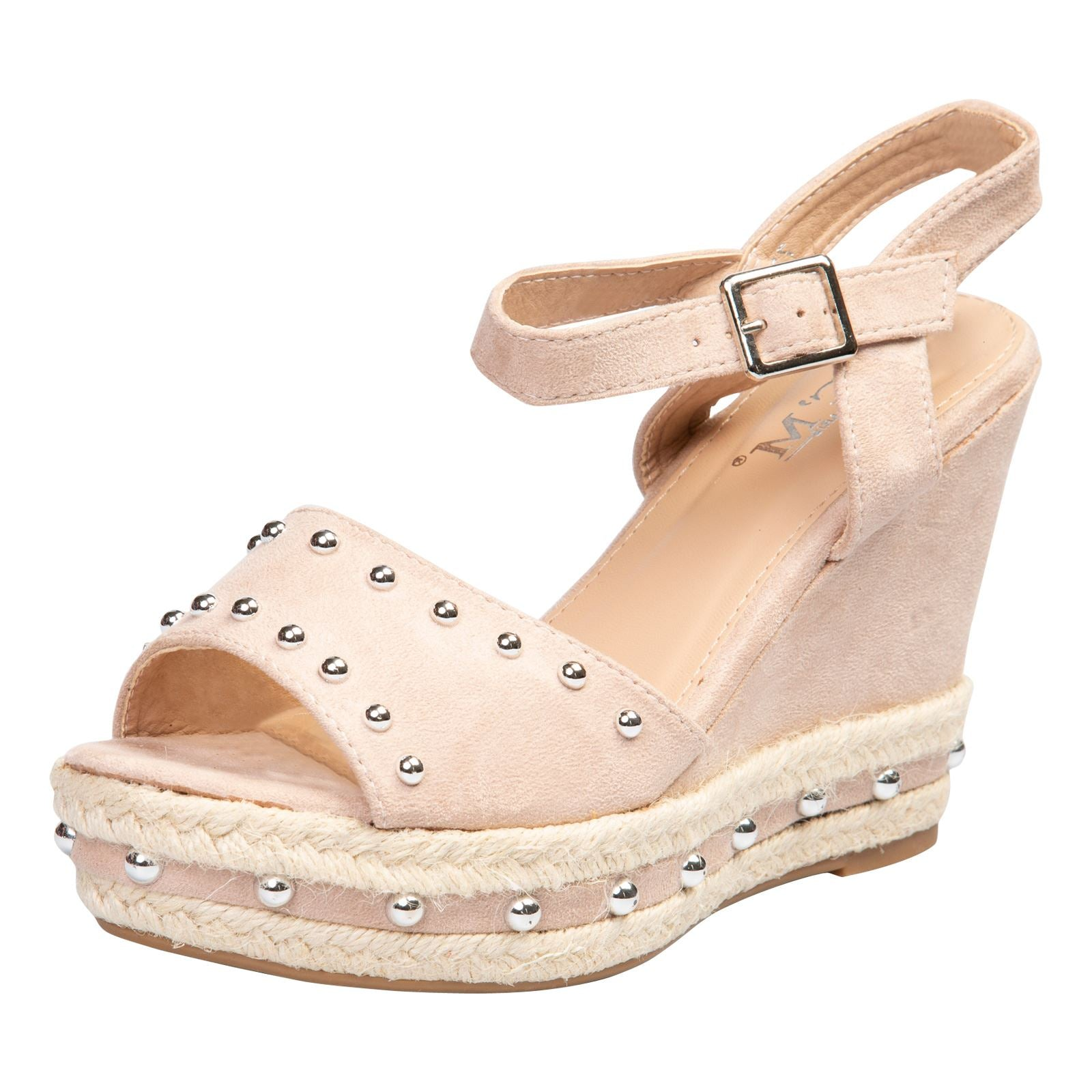 Bridie Studded Platform Sandals in Pink Faux Suede - Feet First Fashion