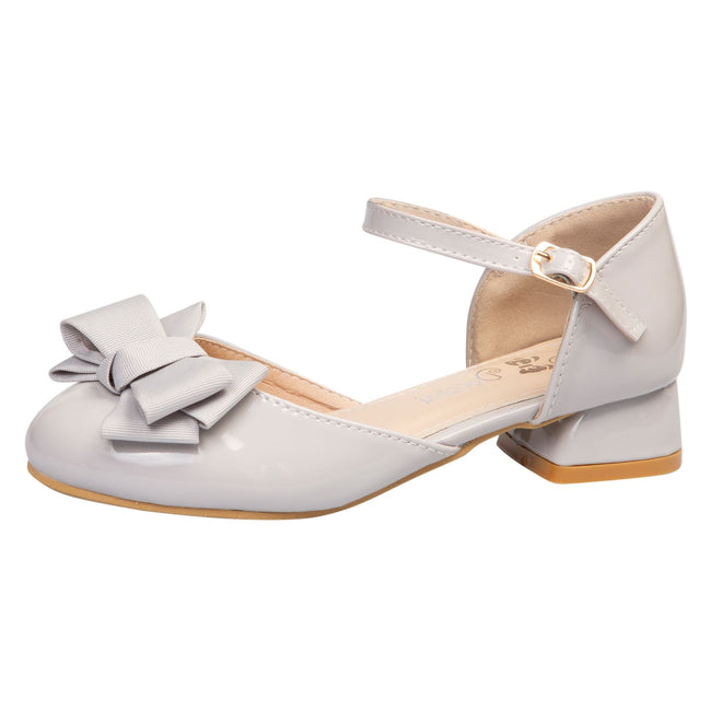 Kaelyn Girls Low Heel Shoes in Grey Patent - Feet First Fashion
