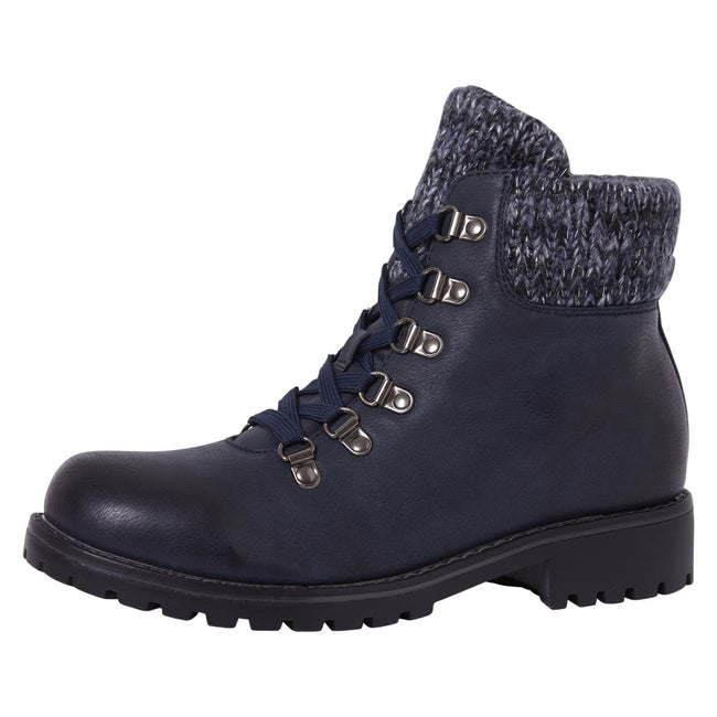 Zendaya Combat Ankle Boots in Navy Faux Leather