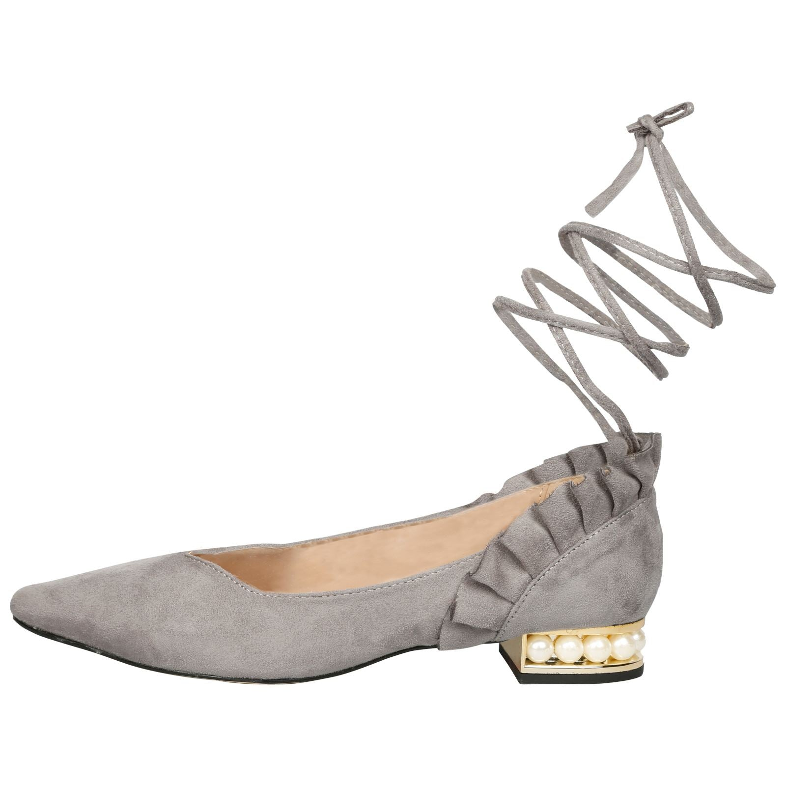 Jaelynn Lace Up Ballerina Flats in Grey