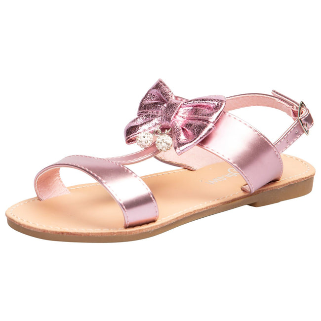 Nalani Girls T-Bar Sandals in Pink - Feet First Fashion