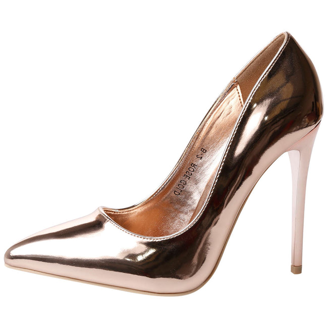 Danita Stiletto Heel Court Shoes in Rose Gold Metallic