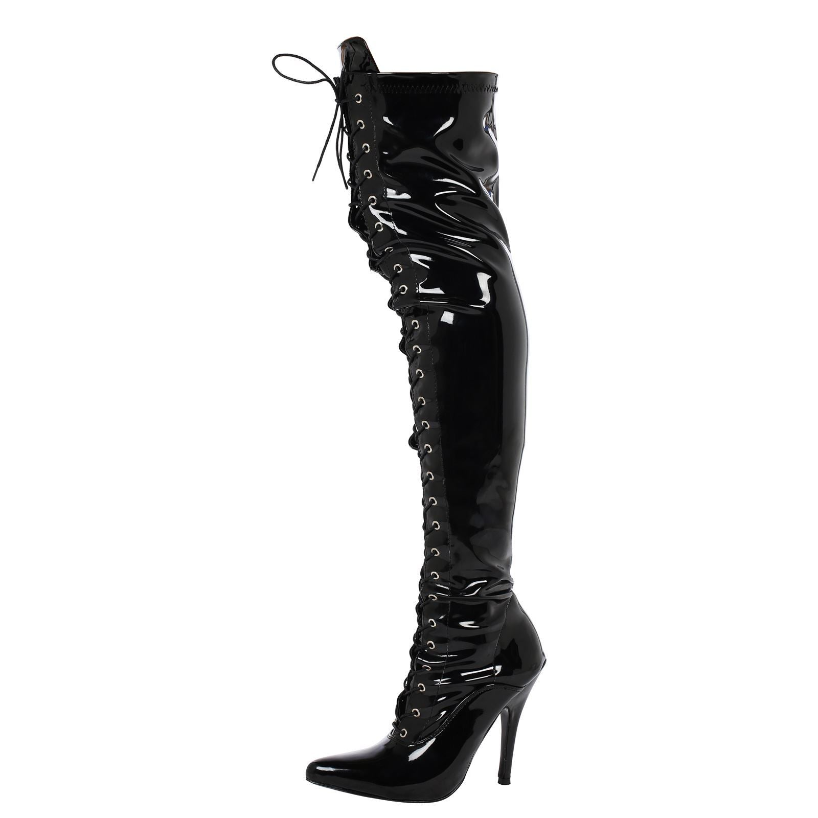 Destiny Lace Up Thigh High Boots in Black Patent