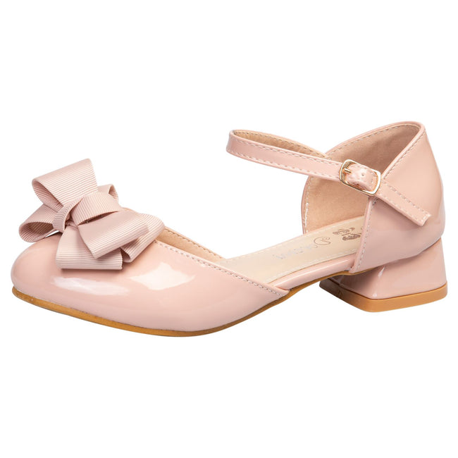 Kaelyn Girls Low Heel Shoes in Pink Patent - Feet First Fashion