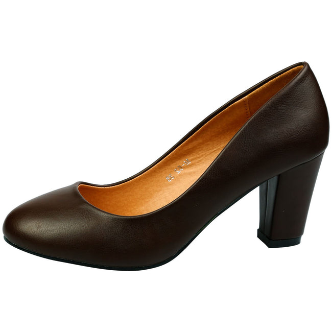 Reeva Block Heel Court Shoes in Brown Faux Leather