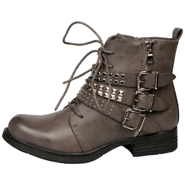 Samara Strappy Buckled Ankle Boots in Grey Faux Leather - Feet First Fashion