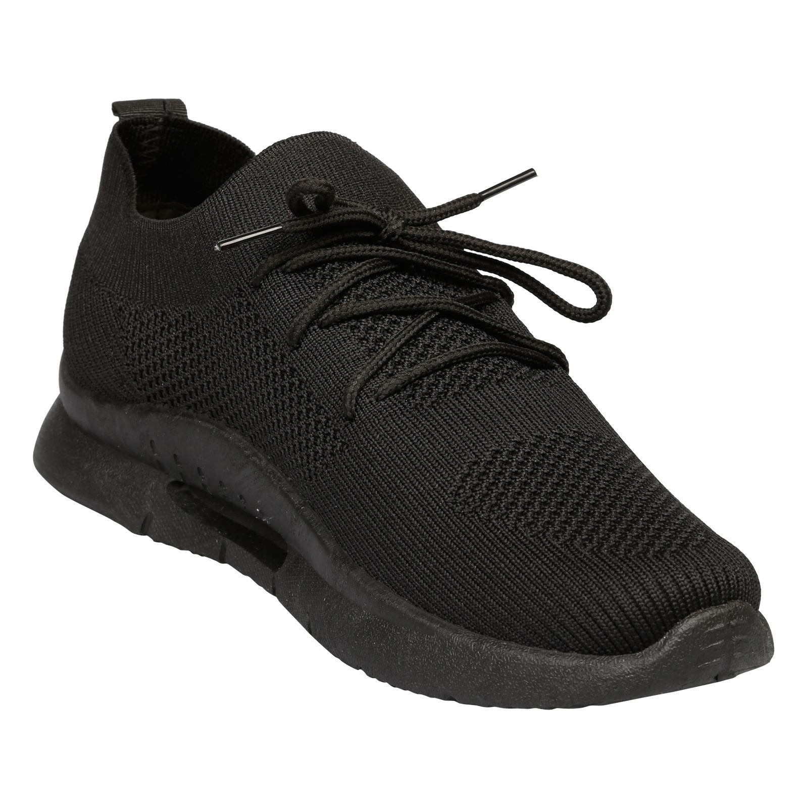 Dalary Knit Pull On Trainers  in Black - Feet First Fashion