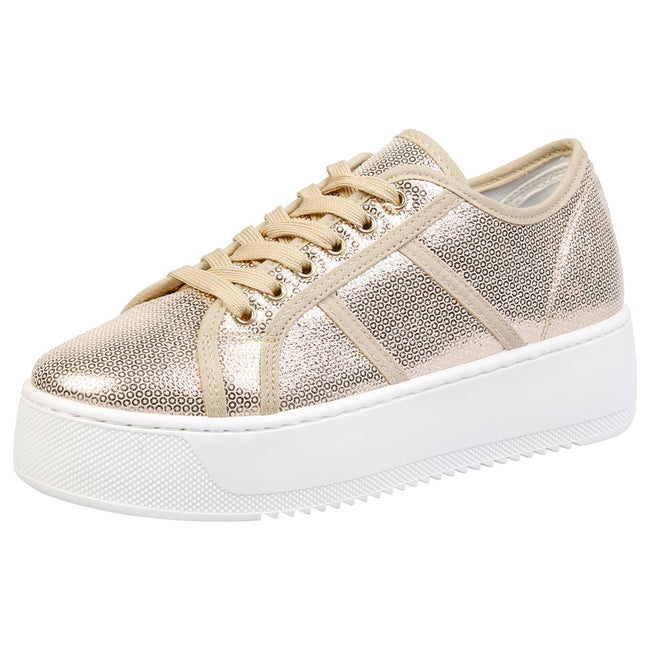 Brylee Chunky Flatform Trainers in Gold