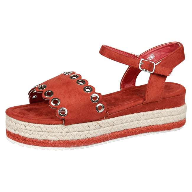 Terri Eyelet Detail Flatform Espadrille Sandals in Red Faux Suede