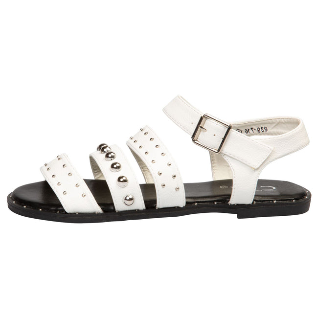 Elena Flat Studded Sandals in White Faux Leather