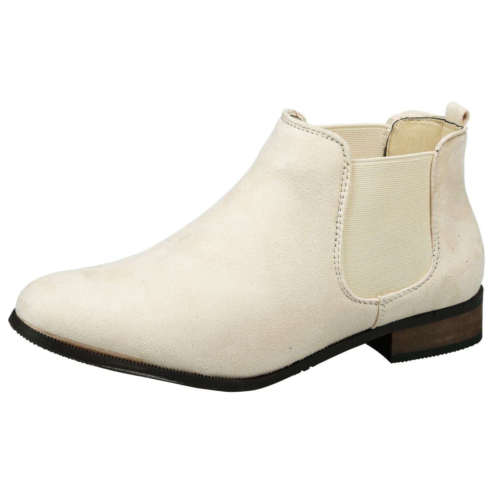 Emma Classic Chelsea Boots in Beige Faux Suede