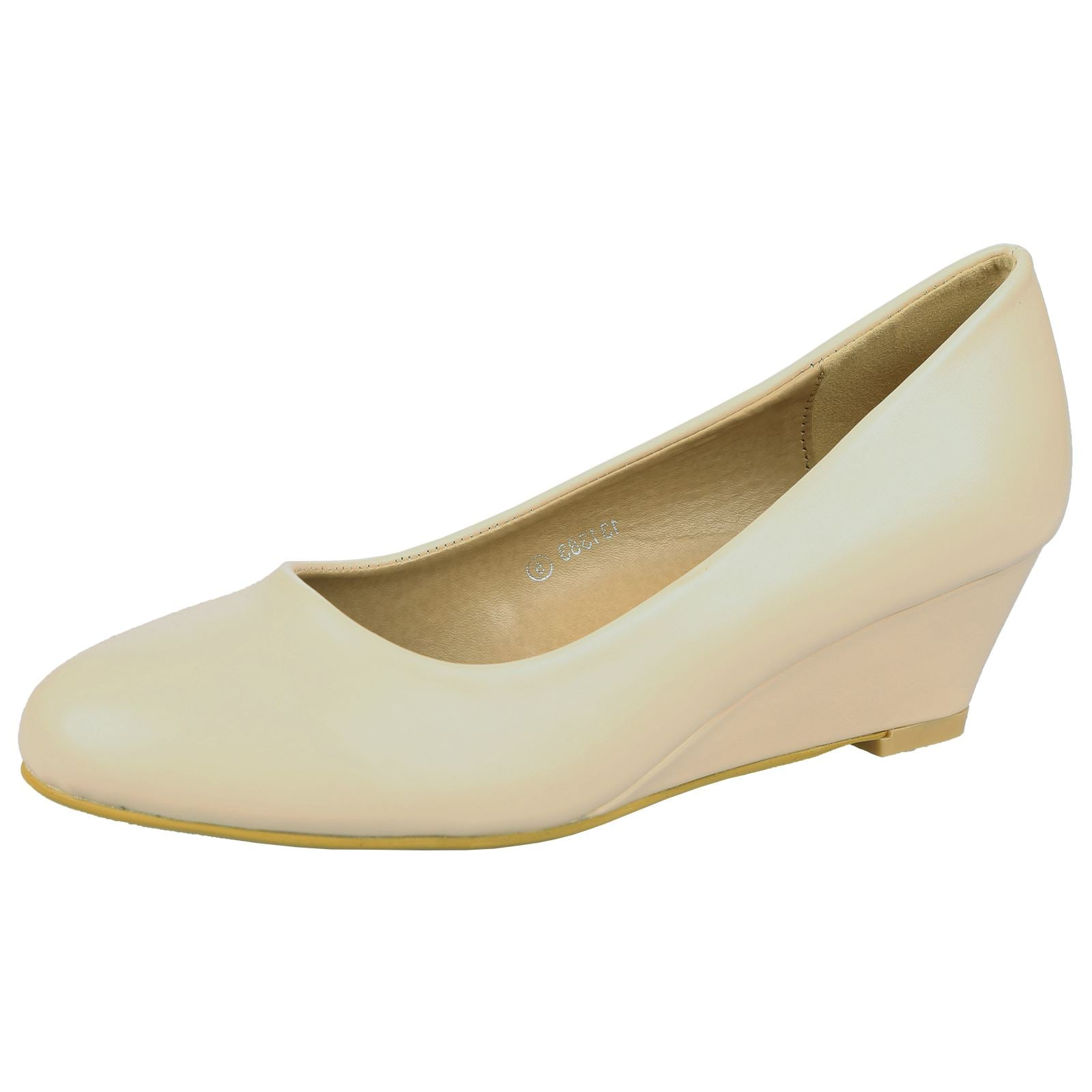 Wendy Low Wedge Court Shoes in Beige Nude Faux Leather