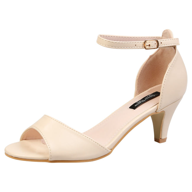 30dcb2d22 Laurie Low Heel Ankle Strap Sandals in Nude Faux Leather