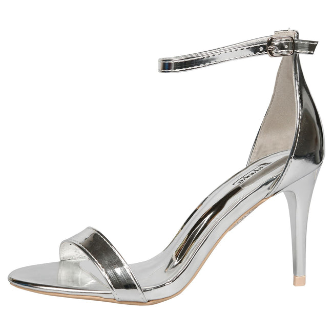 Ellen Stiletto Heel Ankle Strap Sandals in Silver Patent