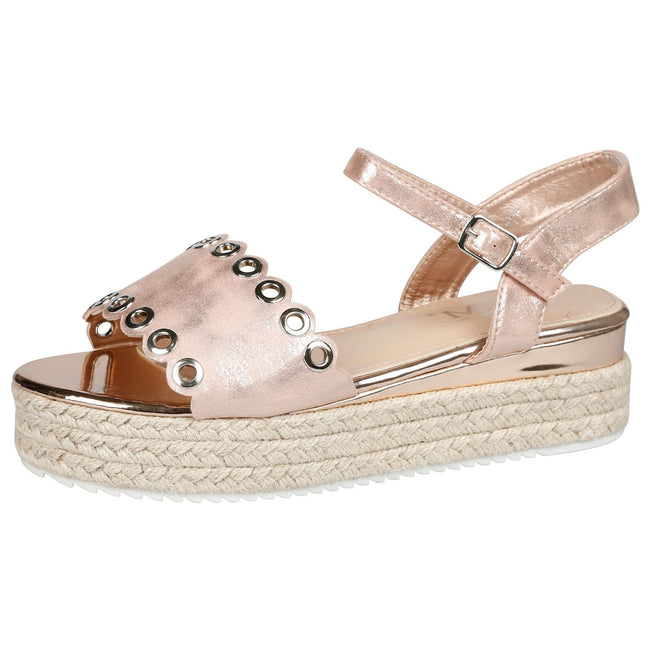 Blessing Eyelet Detail Flatform Espadrille Sandals in Rose Gold Shimmer