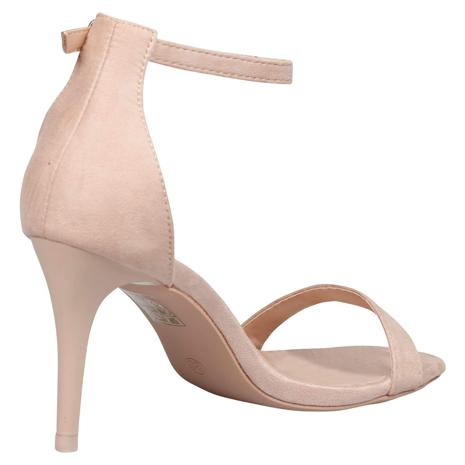Ellen Stiletto Heel Ankle Strap Sandals in Beige Faux Suede