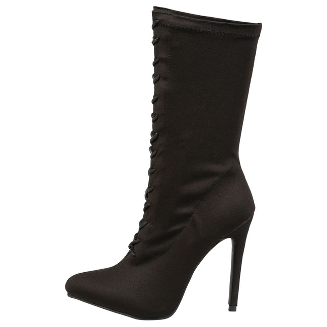 Crystal Lace Up Mid Calf Boots in Black - Feet First Fashion