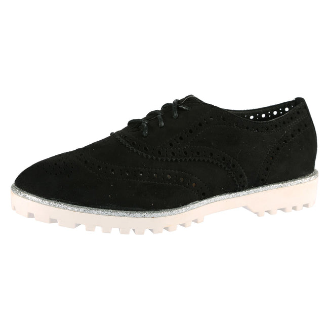 Ember Cut Out Brogues in Black Faux Suede