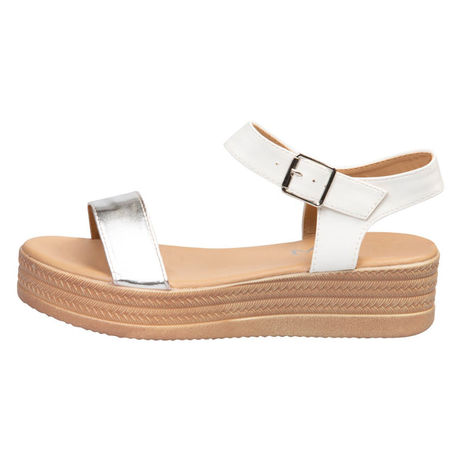 Eliana Flatform Sandals in White / Silver Faux Leather