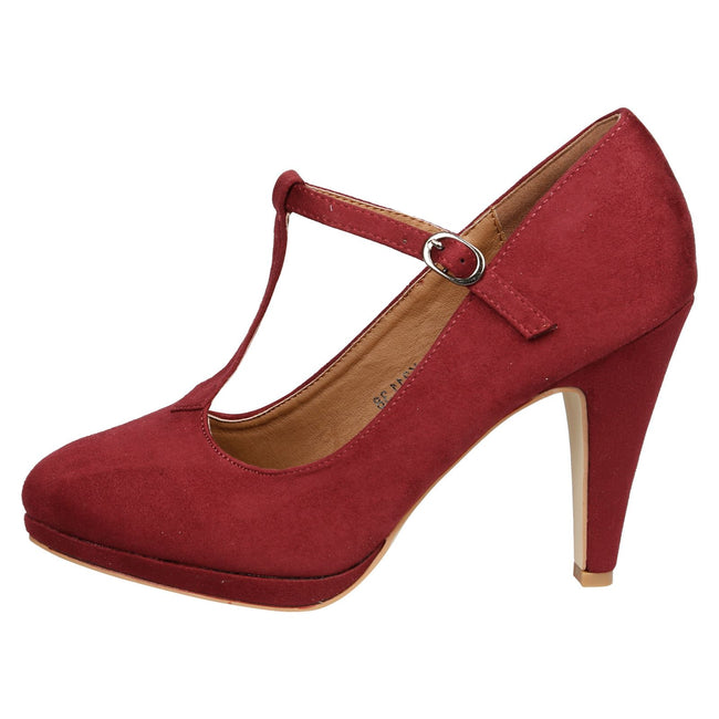 Milena Heeled T- Strap Pumps in Wine Red Faux Suede - Feet First Fashion