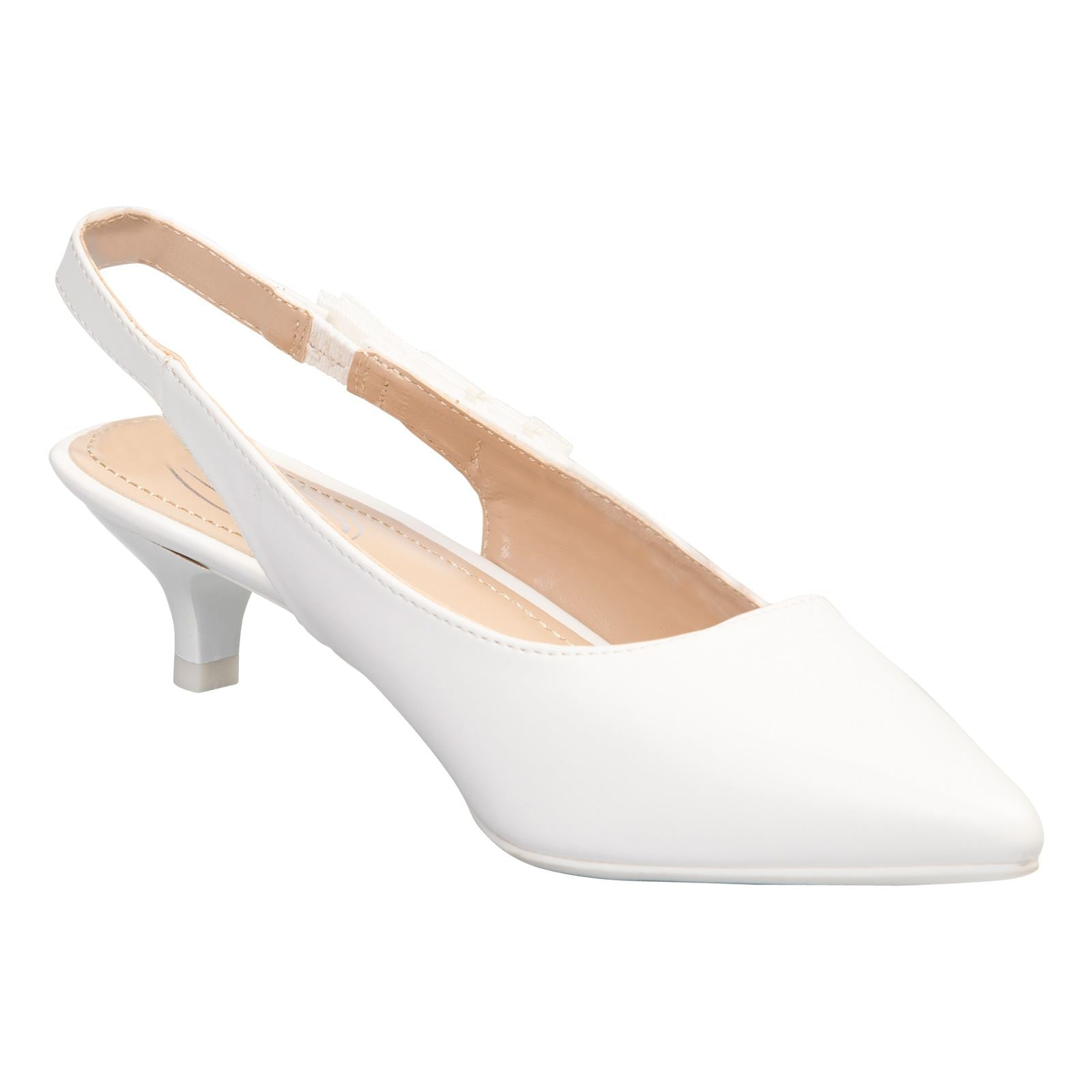 Alora Slingback Pumps in White Faux Leather - Feet First Fashion