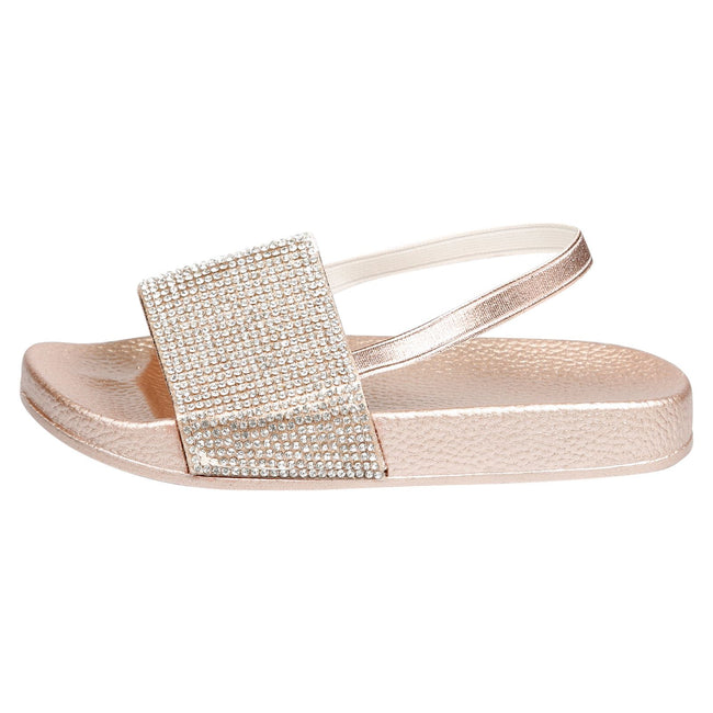 Sue Girls Elasticated Diamante Sliders in Rose Gold - Feet First Fashion