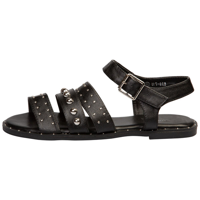 Elena Flat Studded Sandals in Black Faux Leather - Feet First Fashion