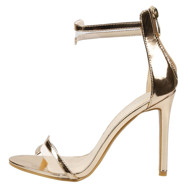 Stella Barely There Stiletto Sandals in Rose Gold Patent