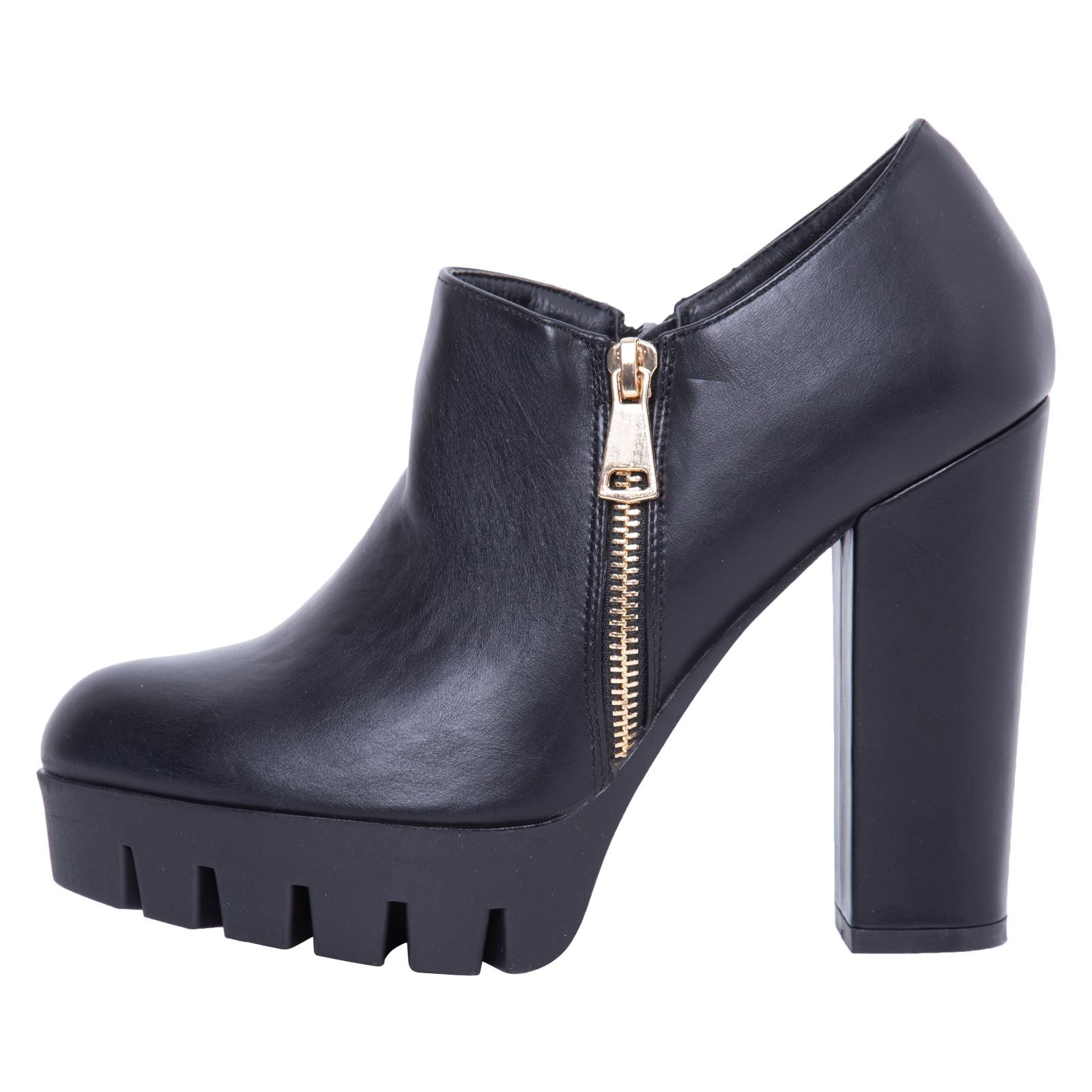 Ada Studded Heeled Shoes in Black Faux Leather - Feet First Fashion