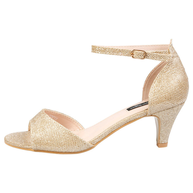 Laurie Low Heel Ankle Strap Sandals in Gold Shimmer