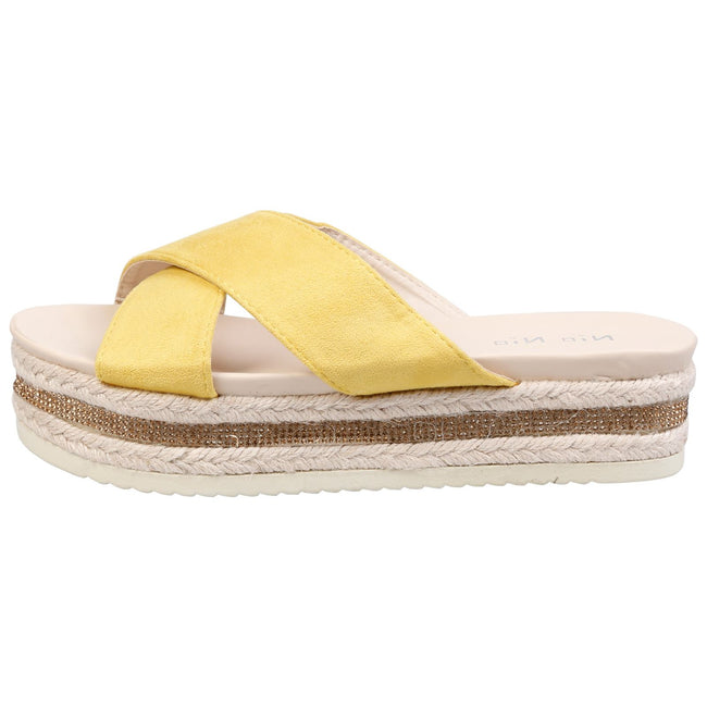 Primrose Diamante Sole Sliders in Yellow Faux Suede