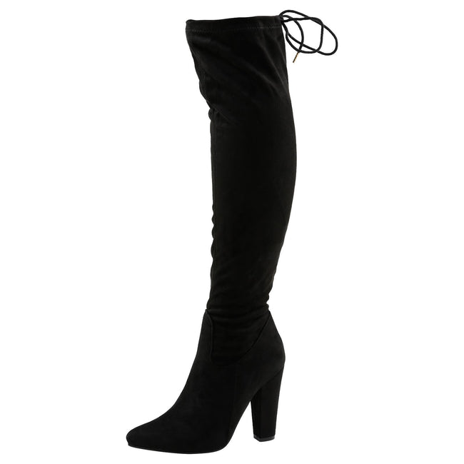 Ivone Block Heel Tie Top Over the Knee Boots in Black Faux Suede