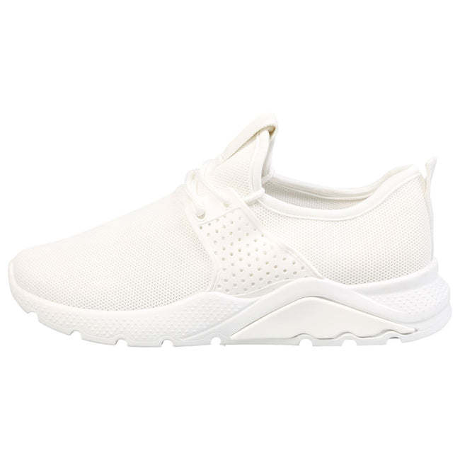 Kaylee Pull On Lace Up Detail Trainers in White