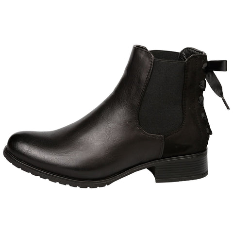 Sarai Chelsea Ankle Boots in Black Faux Leather