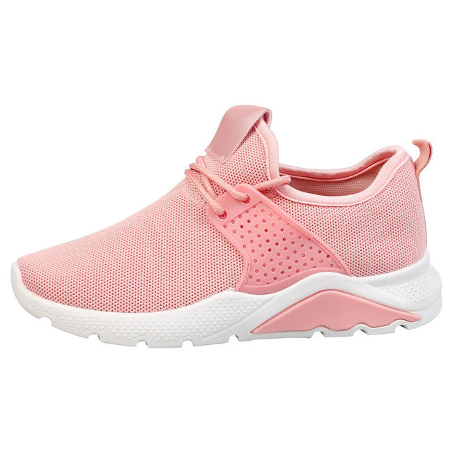 Kaylee Pull On Lace Up Detail Trainers in Pink