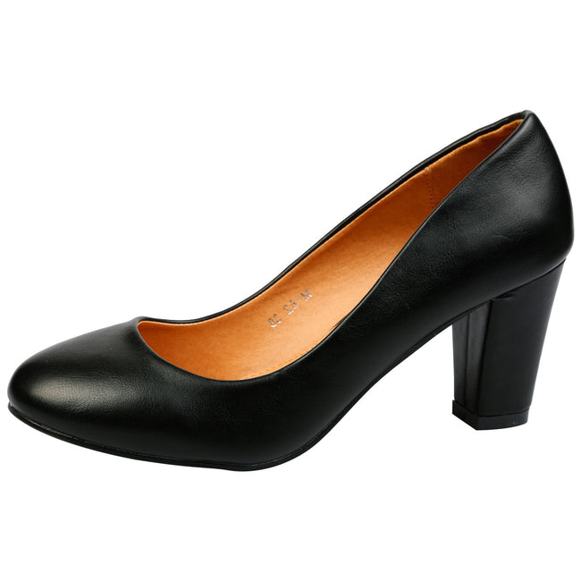 be39ebf560a Reeva Block Heel Court Shoes in Black Faux Leather